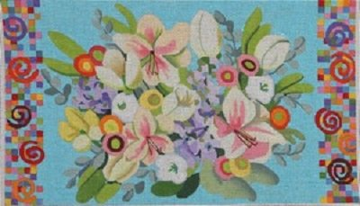 AWP 799C FLORAL ON AQUA LARGE PILLOW by Ann Wheat Pace