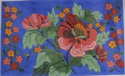 AWP 799I FLORAL ON BLUE LARGE PILLOW by Ann Wheat Pace