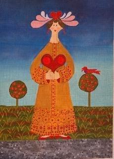 CBKJJM6 LADY WITH HEART by CBK NEEDLEPOINT