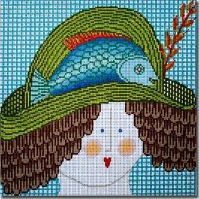 CBKJJMPL18-LADY WITH FISH HAT by CBK NEEDLEPOINT