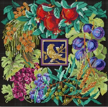 CBKKDSPL26-SEVEN SPECIES LIFE with BIRD CHALLAH COVER by CBK NEEDLEPOINT