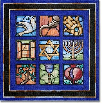 CBKKDSPL22-STAINED GLASS CHALLAH COVER by CBK NEEDLEPOINT