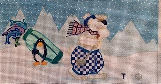 CBKSAPL04 GOLF SNOWMAN for CBK NEEDLEPOINT