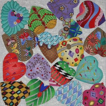 Dede1045 JEWELED PUFFED HEARTS by Dede Needleworks