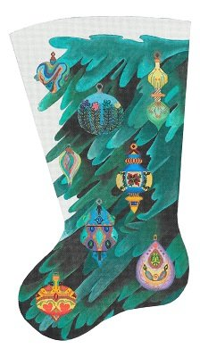 Dede17041 GLASS ORNAMENT CHRISTMAS STOCKING by DEDE Needleworks