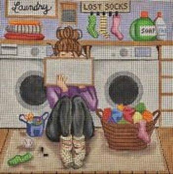 GEP307 Stitching Girl Laundry by Gayla Elliott