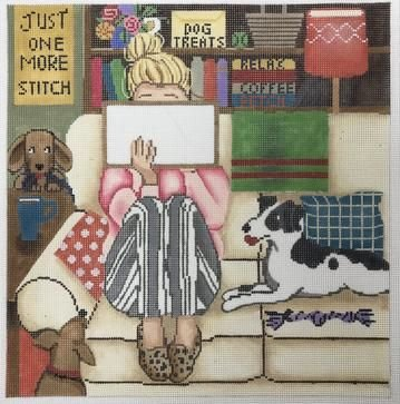GEP309 Stitching Girl with Dogs by Gayla Elliott