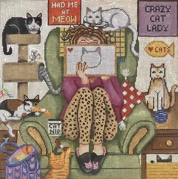 GEP325 Stitching Girl Cat Lady by Gayla Elliott