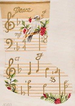 JG103 PEACE, MUSICAL SCORE CHRISTMAS STOCKING by Janice GaynorI
