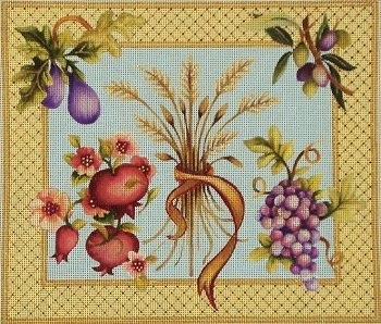 JGJJ110 WHEAT AND FRUIT SPECIES CHALLAH COVER by Janice Gaynor
