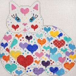 JPA418-RECLINING HEART KITTY W STRIPES BY JP NEEDLEPOINT