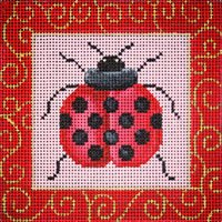 JPB052-LADYBUG WITH BORDER BY JP NEEDLEPOINT