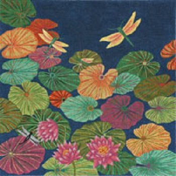 DRAGONFLIES ON LILY PADS by JP Needlepoint STITCH GUIDE ONLY JPB240sg