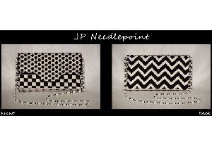 JPBB01-BLACK and WHITE BRICK PURSE by JP Needlepoint