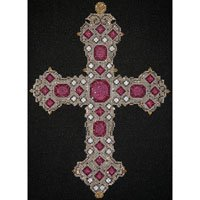 JPH036-SILVER CROSS with PEARLS and RUBIES by JP Needlepoint