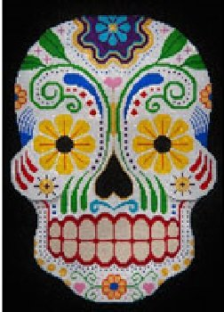 JPH041-SUGAR SKULL WITH HEARTS FLOWERS by JP Needlepoint - copy