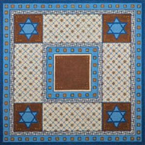 JPTB046 BEIGE BLUE AND BROWN DIAMONDS TALLIS BAG OR CHALLAH COVER by JP Needlepoint