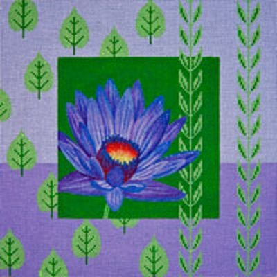 JPV-039 PURPLE WATER LILY & LEAVES by JP Needlepoint