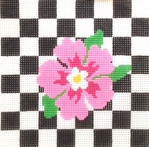 PINK FLOWER ON CHECKS by Julia-JS132