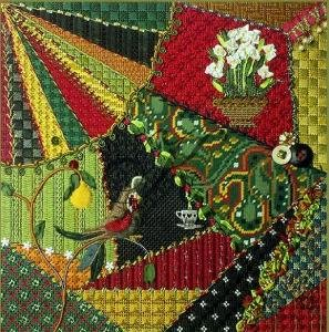 KCN012-CHRISTMAS CRAZY QUILT by Kelly Clark