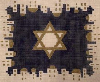KPPF351 CITY OF JERUSALEM STAR TALLIS BLUE by Katherine Parfet