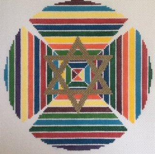 KPPF196 MULTIPLE LINES KEPAH STAR YARMULKE BLUE by Katherine Parfet
