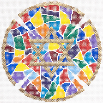 KPPF356 STAINED GLASS COLORS KEPAH YARMULKE by Katherine Parfet