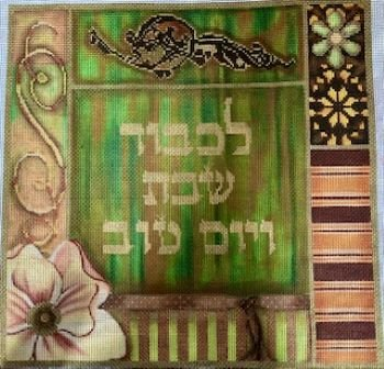 LANI401A GREEN AND BEIGE HOLIDAY CHALLAH COVER by Lani - copy