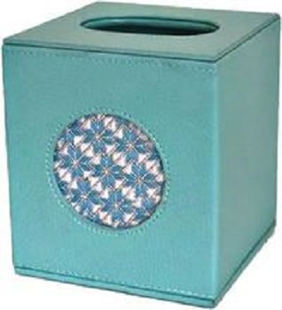 LEEBag79LB TEAL LEATHER TISSUE BOX by Lee's Needlearts