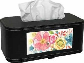 LEEBag78 BLACK LEATHER TISSUE BOX by Lee's Needlearts