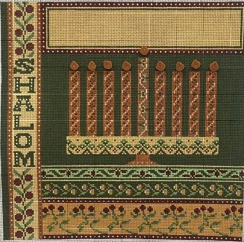 MIN2381 SHALOM MENORAH by Mindy Needlepoint