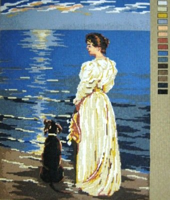MLADYWDOG-Lady and Dog  by the Sea