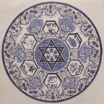 BLUE ROUND MATZAH COVER by Magic Needle Stitch Guide - MN1037Csg