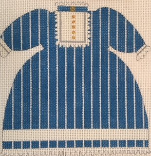 MS795F OLD FASHIONED BLUE STRIPED BABY DRESS XL by Melissa Shirley Designs
