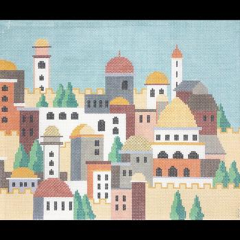 KPPF162 CITY OF JERUSALEM DAY TALLIS LIGHT BLUE by Katherine Parfet