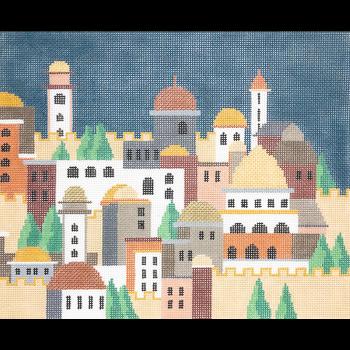 KPPF162a CITY OF JERUSALEM NIGHT TALLIS DARK BLUE by Katherine Parfet
