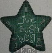 PM22104g LIVE LAUGH WAG Green Star by Patti Mann