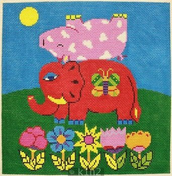 PM22503 ELEPHANT AND PIG by Patti Mann