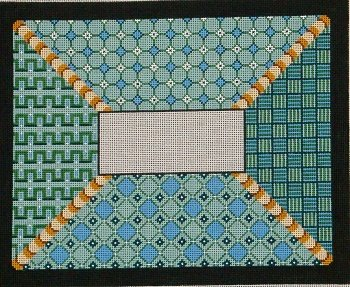 BLUE GREEN GEOMETRIC TALLIS BAG by Patti Mann  STITCH GUIDE  PM7600sg