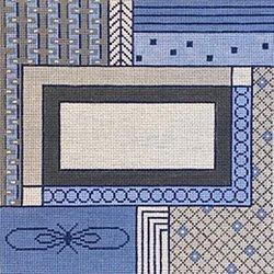 BLUE GREY and WHITE GEOMETRIC TEFILLIN BAG by Patti Mann  STITCH GUIDE  PM7607sg