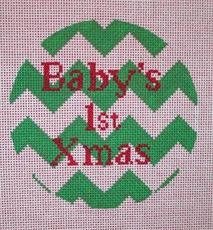 POIAXOLU-001 CHEVRON BABY'S 1ST CHRISTMAS by Point of It All