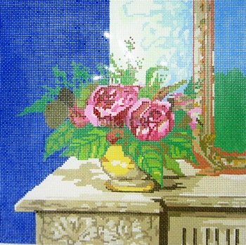 POIAPE277-FLOWERS ON TABLE w MIRROR by Point Of It All