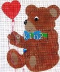 RA202-BROWN BEAR WITH HEART BALLOON by Rachel