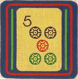Mah Jongg Coaster 5 Dot Judaica by Rishfeld-RISHP129