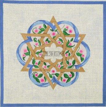 Challah Cover Flower w Star Judaica by Rishfeld-RISHWP113