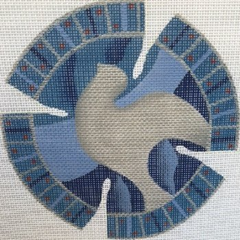 SILVER DOVE BLUE YARMULKE by Shelbi Stitch Guide SH1422ysg