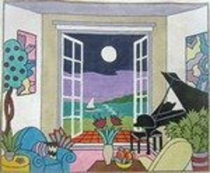 SH0645-LIVING ROOM W PIANO AND VIEW by Shelbi