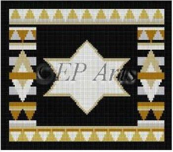 SREP234Tf-STAR OF DAVID BLACK TEFILLIN BAG by Susan Roberts