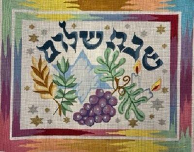 SREP1805 Pastel Shabbat Shalom Challah Cover by Susan Roberts