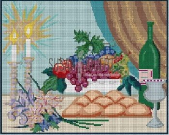BREAD WINE AND FRUIT CHALLAH COVER by Susan Roberts Stitch Guide SREP1807C